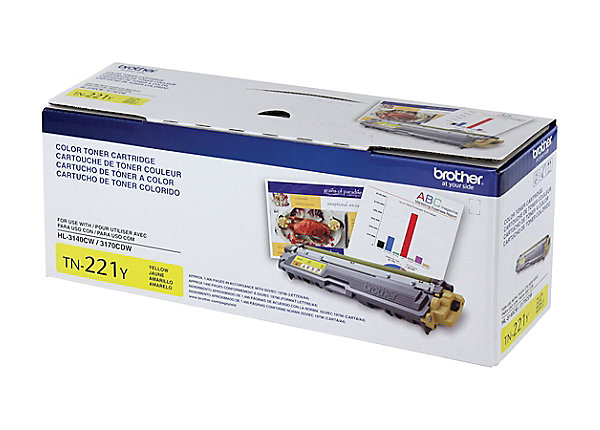 Manufacturer # TN221Y assembly required No brand name Brother cartridge capacity standard yield color yellow compatible machine models Brother models: DCP-9015CDW, DCP-9020CDW, HL-3140CW, HL-3150CDW, HL-3170CDW, HL-3180CDW, MFC-9130CW, MFC-9140CDN, MFC-9330CDW, MFC-9340CDW Consumable Type Toner cartridge Future Delivery yes manufacturer Brother maximum yield per unit 1,400 pages model TN221Y OEM (original equipment manufacturer) part number TN221Y print technology laser printer/copier/fax printer series HL Series; MFC Series; DCP Series Product Condition Original quantity 1 remanufactured no Yield Type Standard