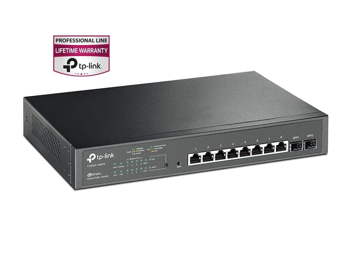 TP-LINK JetStream T1500G-10MPS Managed POE+ Switch 8GBE+2SFP