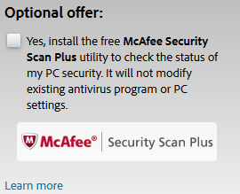 uncheck Mcafee option