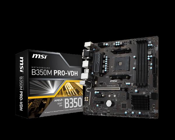 MSI B350M Pro-VDH AMD Ryzen AM4 DDR4 HDMI DVI-D VGA M.2 USB3
