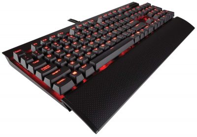 CORSAIR K70 LUX Mechanical Gaming Keyboard - Backlit Red LED - USB Passthrough & Media Controls - Tactile & Clicky - Cherry MX