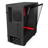 NZXT H500i - Compact ATX Mid-Tower PC Gaming Case - RGB Lighting and Fan Control - CAM-Powered Smart Device - Tempered Glass Panel - Enhanced Cable Management System – Water-Cooling Ready - Black/Red