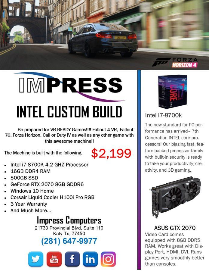Latest Intel Custom Build i7-8700K 16GB DDR4 500GB SSD RTX2070 8GB DDR6 H100i Liquid Cooler 3 Year Warranty