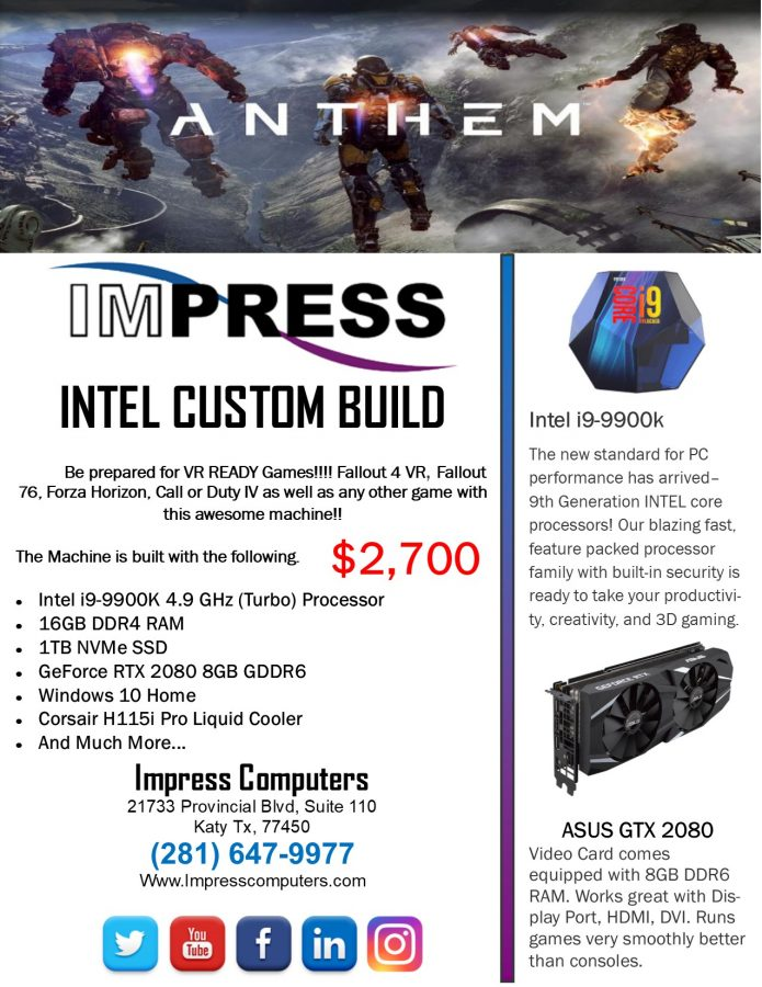 High End Custom Gaming PC i9-9900K 1TB NVMe SSD RTX2080 GPU 16GB DDR4 H115i  Liquid Cool W10H