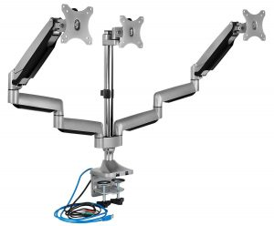 Triple Monitor Mount with USB Port, Height Adjustable 3 Monitor Arm Desk Stand for 24 27 30 32 Inch LED LCD Displays (MI-2753)