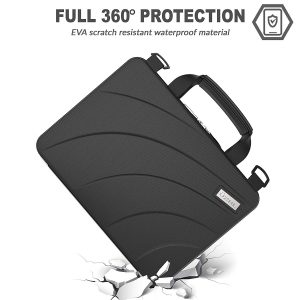 14 inch EVA Always On Work-in Protective Laptop Sleeve and Case with Carrying Handle and Screen Clips for Chromebook, Ultrabook and Notebooks