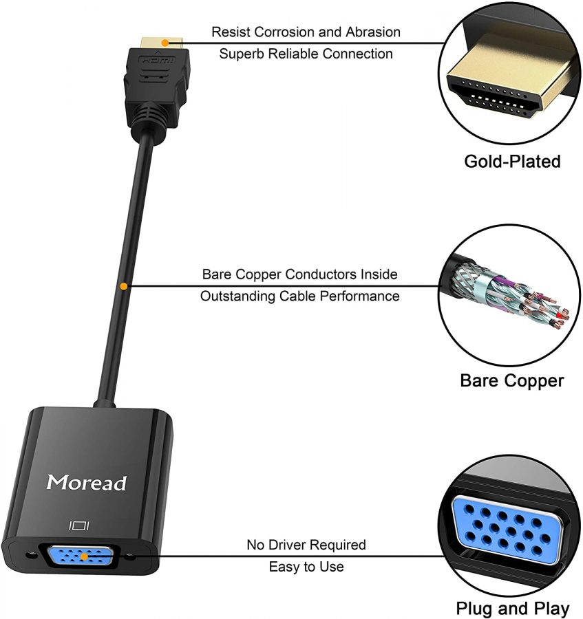 HDMI to VGA Adapter (Male to Female) for Computer, Desktop, Laptop, PC, Monitor, Projector, HDTV, Chromebook