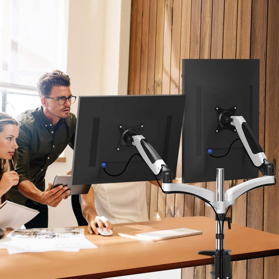 Dual Arm Monitor Stand - Height Adjustable Gas Spring Desk VESA Mount for Two 15 to 27 Inch Computer Screen with 2 in 1 Mounting Base