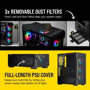Corsair Icue 220T RGB Tempered Glass Mid-Tower Case Black