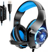 USB Gaming Headset for PC, 7.1 Surround Sound Computer Gaming Headphones, PC Headset with Noise Canceling Mic Volume Control LED Light for PC Mac Laptop