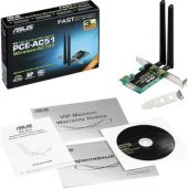 Asus PCE-AC51 IEEE 802.11ac - Wi-Fi Adapter for Desktop Computer - PCI Express - 750 Mbit/s - 2.40 GHz ISM - 5 GHz UNII PCI-E DUAL-BAND 2X2 802.11AC WIFI