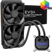 EVGA CLC 240mm All-In-One RGB LED CPU Liquid Cooler, 2x FX12 120mm PWM Fans, Intel, AMD, 5 YR Warranty,