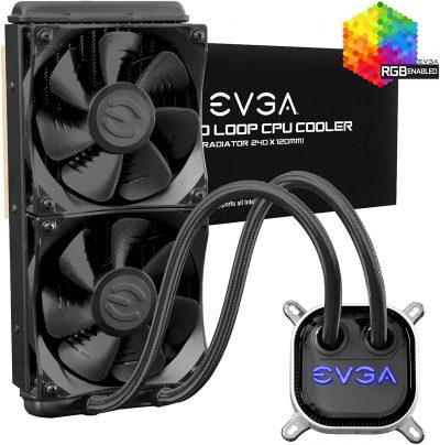 EVGA CLC 240mm All-In-One RGB LED CPU Liquid Cooler, 2x FX12 120mm PWM Fans, Intel, AMD, 5 YR Warranty,