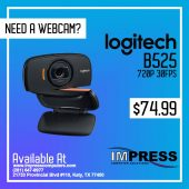 Logitech B525 HD USB Webcam 720P Video w/microphone