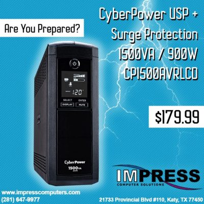 CYBERPOWER INTELLIGENT LCD CP1500AVRLCD - UPS - 900 WATT - 1500 VA