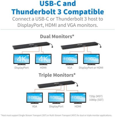 Tripp-Lite USB-C Triple Laptop Docking Station HDMI VGA DP