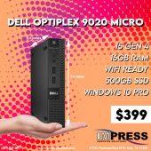 Dell Optiplex 9020Micro i5 Gen4 16GB 500GBSSD W10P Refurb