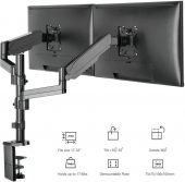 Dual LCD Monitor Desk Mount Fully Adjustable Gas Spring Stand for Display up to 32 inch, 17.6 lbs Capacity