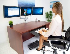 Triple Monitor Mount | Desk Stand with USB and Audio Ports | 3 Counter-Balanced Gas Spring Height Adjustable Arms for Three 24 27 30 32 Inch VESA