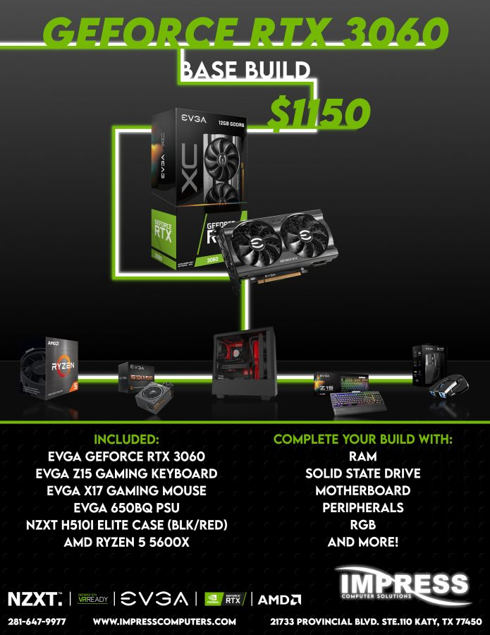 Bundle and Save! RTX 3060 for $475 with this bundle - H510i Case 5600X CPU 650W PSU Z15 Keyboard and X17 Mouse